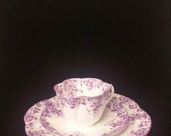Vintage Shelley Dainty Mauve Trio Cup/Saucer/Plate
