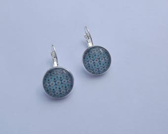 Stud Earrings with round glass cabochon with ethnic decor print