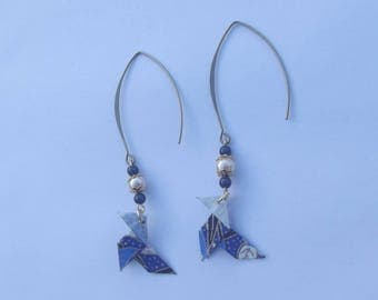 "Large bronze hook with magic beads dark purple and cream and blue Japanese paper origami ""cocotte"" earrings"
