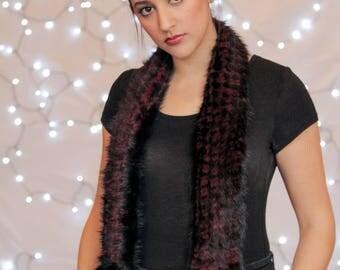 Mink Scarf, Fur Scarf,  Knitted Mink Scarf, Black & Red Scarf, Real Fur Scarf