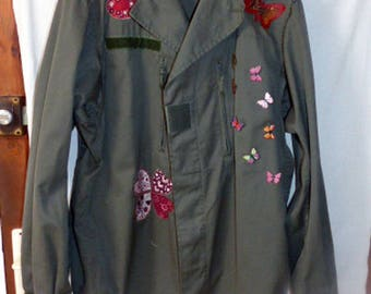 genuine military jacket khaki customized, clovers, hearts, butterflies