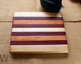 Medium Sized Cherry/Hard Maple/Purpleheart Cutting Board