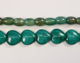 Stone Beads, Green Stone, Heart Shaped, Oval Beads, Blue, Agate, Rocks, DIY, BS160
