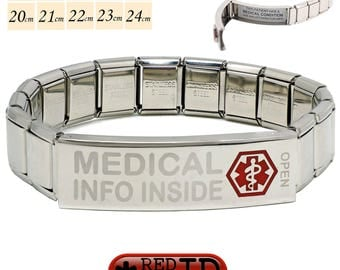 """Pre Etched """"Medical Info Inside"""" Stainless Steel Medical Alert SOS ID Stretch Bracelet 200 Characters on two Waterproof Labels By REDMEDID"""