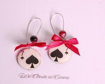 Boucles d'oreille 7 de pique, poker