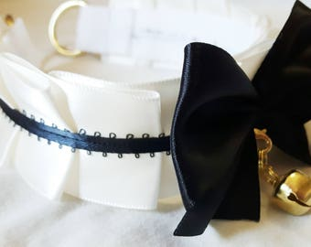White and Black Kitten Play Collar (Made to Order)