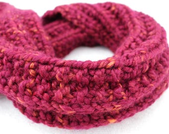 Chunky & Soft Hand Knitted Snood / Infinity Scarf - Burgundy Ombre