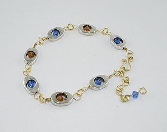 BRACELET METAL 2 tone gold er silver, Sapphire, Topaz Swarovski Crystal beads