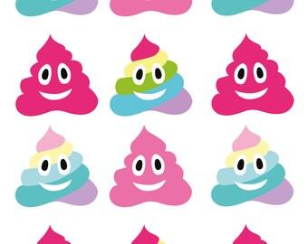 Wall decals sticker decor kids print A3 emoticon poop 206 ref