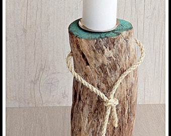 Scandinavian drift wood candle holder