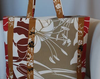 Handbag Tote fabric upholstery taupe/brown/red/white