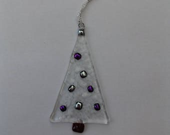 Fused glass Christmas tree decoration with dichroic baubles in purple and silver