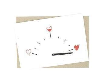 Anniversary Card - Love Card - Valentine - Tachometer with love