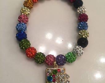 Beautiful Multi-Colored Bead Bracelet w/ CC Charm!