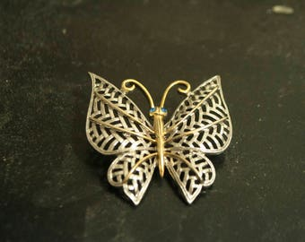 Vintage Avon Two Tone Butterfly Brooch Pin