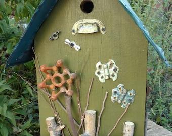 Folk Art Garden Birdhouse, Rustic Birdhouse, Garden Decor, Country Decor,  Large Birdhouse