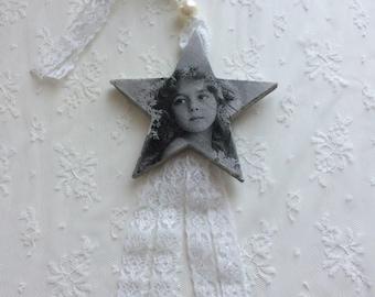 Star wooden retro romantic illustration young girl Vintage version