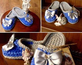 Natural handmade slippers, knitted slippers