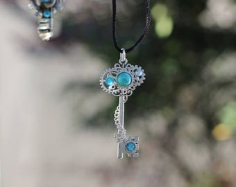 Icy Blue Rhinestone Steampunk Silver Chain Key Necklace Pendant