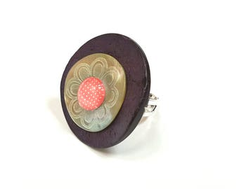 Purple Leather cabochon polka dot button ring