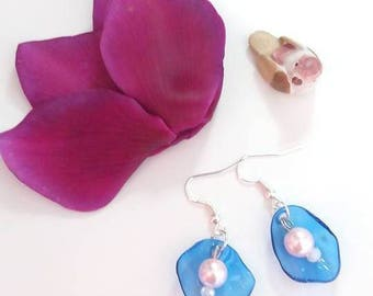 Blue earrings Pink White recycling/earrings blue pink