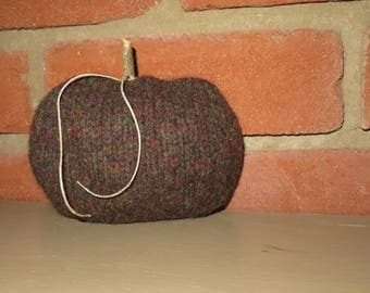 100% felted wool autumn fall upcycled sweater gourd pumpkin