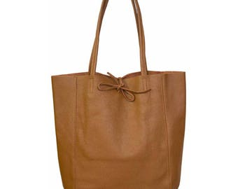 SAC à main shopping woman, cognac color leather