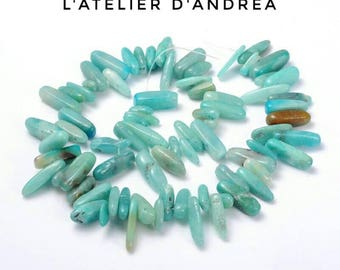 20 beads of Amazonite, your green-blue, 12-22 X 5-7 mm, 1 mm hole.