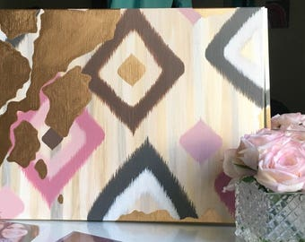 Ikat Painting With Gold Leaf