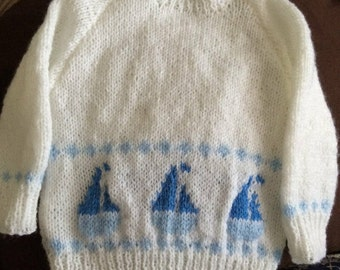 Sailor knitted baby jumper