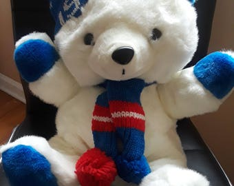 Vintage 1988 Kmart White Teddy Bear Blue and Red w/ Hat & Scarf