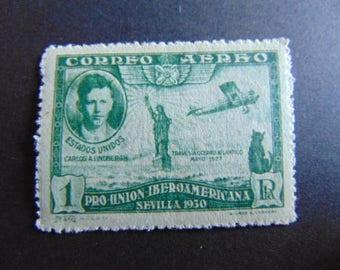 CHARLES LINDBERGH & Lady Liberty**Spain Postage Stamp 1930 Vintage* Scott #C56 MNH*