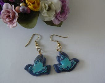 Bird blue polymer clay earrings