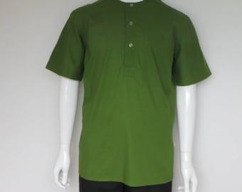 Green cotton short sleeve shirt without collar