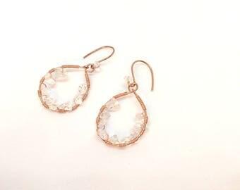 Earrings Crystal, Earrings Copper, Orecchini rame, Draht Ohrringe