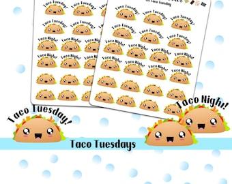Kawaii Taco Night Food Planner Stickers, Erin Condren, Happy Planner