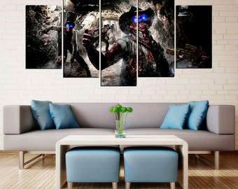 Call of Duty Black Ops poster Zombies canvas art Framed Photo Print gifts for gamer Video game - Game room decor - Ready to hang -home decor