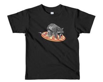Kids' Funny Pizza Raccoon Strange, Weird and Random Trash Panda Short Sleeve Boys and Girls T-Shirt Sized 2 - 6 yrs