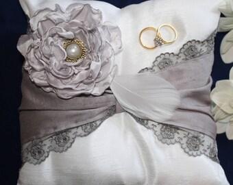 Wedding ring pillow, wedding ring cushion, ring bearer pillow, ring bearer cushion, satin and lace cushion, bridal ring pillow