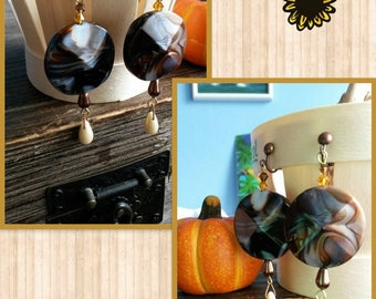 """clip on earrings unique """"fall colors"""""""