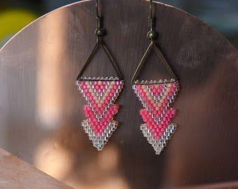 Pink earrings beads Miyuki - geometric Triangles
