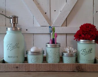 mason jar bathroom set rustic bathroom set country bathroom set mason jar and - Bathroom Accessories Etsy