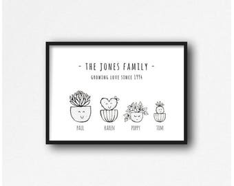A4 Personalised cactus print - family A4 plant print