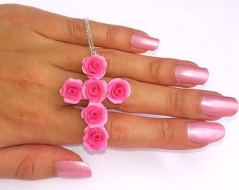 Pink rose pendant etsy pink rose cross pendant rose cross necklace pink rose pendantpink rose cross audiocablefo light ideas