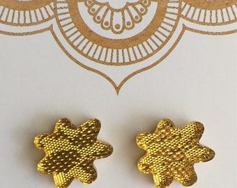 Gold Fabric Splat Stud Earrings