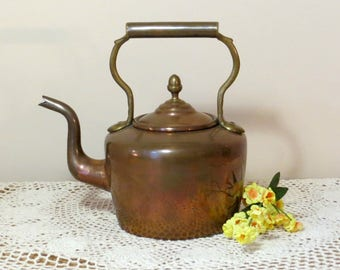 Antique English Copper Tea Kettle Solid Brass Handle Dovetail Seams Acorn Finial Beautiful Patina Early 1900s Teapot Water Kettle