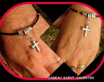 BRACELETS couple Cuir noir,bracelets COUPLE Personnalisés,CROIX argent tibetain,Talisman protection , cadeau pour couple