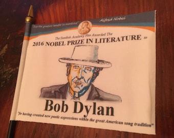 "BOB DYLAN   Awards Series  Commemorative  Mini-Desk Flag 4"" x 6""  Nobel Prize - Grammys - Oscars - Rock & Roll HOF- Pulitzer -Golden Globes"