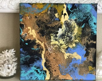 Original Acrylic painting on canvas fluid artwork Blue Dream