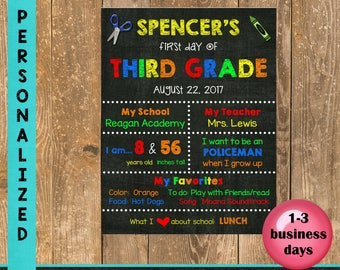 First Day of School Sign, Back to School, Printable Chalkboard Poster, First day of Kindergarten/Elementary Sign, Printable Sign, Custom